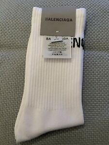 WHITE BALENCIAGA Designer Ribbed Sports Socks - Womens Mens Unisex, Medium/Large