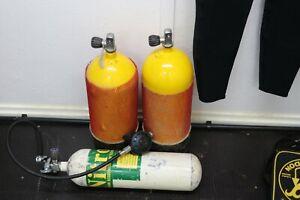 Diving air  tanks 2x10L 1x7l 200 Bar & Scubapro reg Out of test
