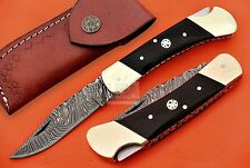 Pocket Folding Knife Custom hand Made Damascus Steel Blade