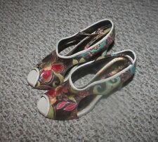 """Alba Beige Floral Hand-Painted 3"""" Heel Open Toe Pump/Strap Shoes~sz 8M"""