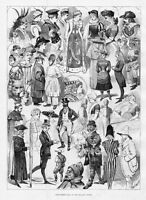 COSTUMES, FANCY DRESS BALL AT THE MANSION HOUSE, VICTORIAN, ANTIQUE 1883 FASHION
