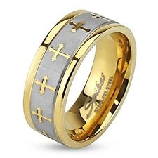 MENS STAINLESS STEEL CELTIC CROSS GOLD IP RING WITH BRUSHED CENTER TWO TONE R