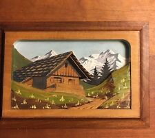 German Style Carved Wood Mountain Chalet Original Painting Framed Signed 4 1/2x7