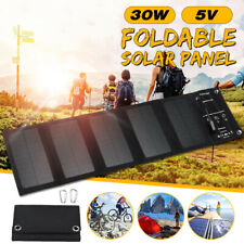 30W Foldable Solar Panel Battery Charger DC 5V USB Power Bank For Outdoor