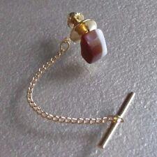 Vintage Tie Tack Stud Pin Retro Tac GOLD TONE STRIPED STONE