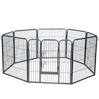 "Dog Pet Playpen Heavy Duty Metal Exercise Fence Folding Kennel 8 Panel 32"""