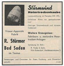 24/180 WERBUNG AUS EINER ZEITSCHRIFT MOTORTROCKENHAUBEN 1949 BAD SODEN FRISEUR