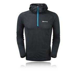 Montane Allez Micro Mens Black Warm Hooded Running Top Hoodie Sweatshirt
