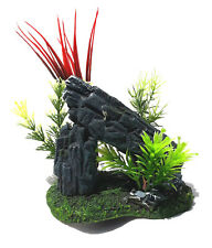 """New listing Rock Tunnel with Plastic Plants on Resin Base 4"""" x 3"""" x 7"""" Tall New"""