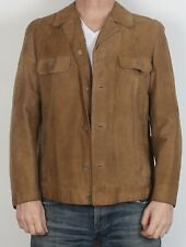 """Chaqueta de abrigo ajustada de cuero de gamuza 38"""" 40"""" medio años 70 Vintage Marrón (3BB)"""