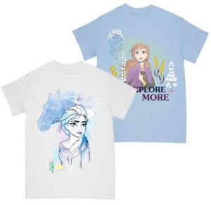 Frozen 2 Girls Elsa Watercolour Sketch - Anna Explore More T-shirt Multi Pack