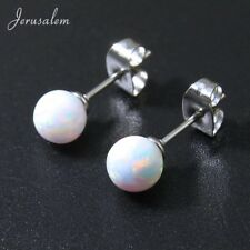 Beautiful Natural Opal Ball & Sterling Silver Stud Earrings 6mm Gift