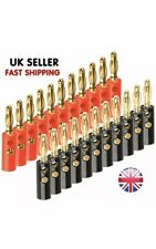 20 X Red & Black Gold Plated Speaker Cable Banana Plug Connector Premium Quality