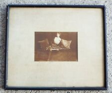 Old Antique WOMAN WITH FENCING SABRE Sword Framed PHOTOGRAPH