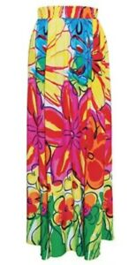 "Jams World Womens Floral Maxi A-Line Skirt Large ""50 Years Aloha Hawaii Furphy"""