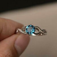 14k White Gold Finish 2.00 Ct Round Cut Blue Topaz Solitaire Engagement Ring