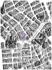 Prima BUDAPEST Clear Stamp - Vintage Street Map Background