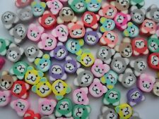50 COLOURFUL FIMO POLYMER CLAY TEDDY BEARS HOLE FROM TOP TO BOTTOM - FREE P&P