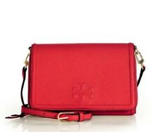 New Tory Burch $295 Leather Thea Flat Wallet Crossbody Shoulder Bag, Rust Red