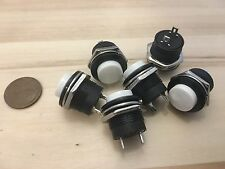 6 Pieces White small N/O Momentary 16mm push button Switch round 12v on off C6