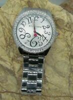 BETSEY JOHNSON BJ00048-01 Silver Tone Crystal Bezel Ladies Watch NEW BATTERY