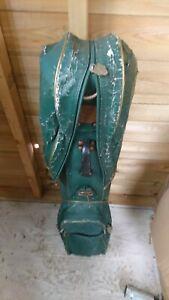 Vintage Green 4 Division Jaguar Tour Trolley Cart Golf Bag & Bundle Of Tees