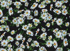 Bty White Reverie Daisies on Black Floral Print 100% Cotton Quilt Tt Fabric Yard