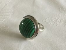 Sterling Silver (925) & Malachite Ring, approximate size L.