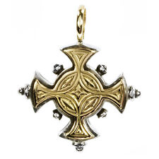 Gerochristo 5017 ~ Solid 18K Gold  & Sterling Silver - Byzantine  Cross Pendant