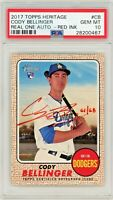 Cody Bellinger 2017 Topps Heritage Auto RC Real One Auto RED INK #61/68 PSA 10