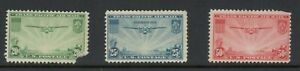 US Scott #C20-22 Transpacific Set of MLH Airmails with faults.