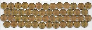 Dealer Flea Market Lot: 50 1963-64-65 Mexico Mexican 1 Centavo Coins Brass BU