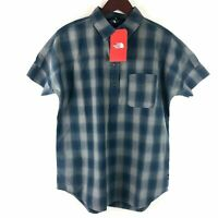 The North Face Women's Size M Blue Plaid Button Front Shirt Short Sleeve NEW