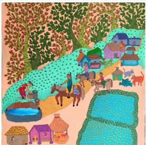 Handmade Handpainted Gond Painting Master Canvas Art India Native