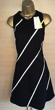 Exquisite Karen Millen Brand New Diagonal Stripe A Line Dress Uk10