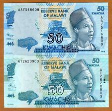 Malawi, 2 x 50 Kwacha, 2012; 2015, Pick 58, two dates, signatures, colors, UNC