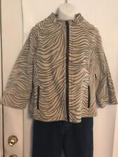 Live A Little Size XL Genuine Leather Tan & Gray Zebra Print Zip Front Jacket