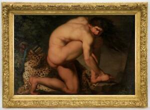 """Old Master-Art Antique Oil Painting Portrait male nude on canvas 24""""x36"""""""