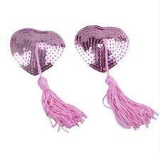 Bijou de seins , cache tétons nipples paillettes coeur rose, accessoire sexy