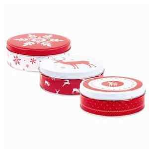 14cm Christmas Round Vintage Storage Nik-Nak Tins With Heart Snowflake Red White