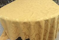Vintage Tablecloth Poly Gold  Floral Damask 58x99
