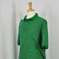 Ralph Lauren Men Polo XL Green Blue Striped W/ Pink Pony Rugby Golf Short-Sleeve