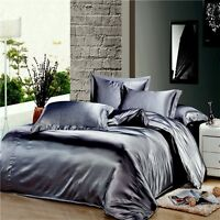 HOTEL COLLECTION 1000TC SATIN SILK DARK GRAY SOLID CHOOSE SIZE & BEDDING SHEET