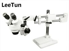 7X-45X Zoom Stereo Microscope 360 Rotatable Binocular Head Double Arm Boom Stand