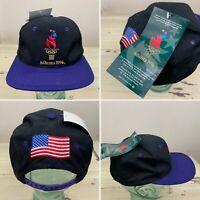 ATLANTA OLYMPICS - Vtg 1996 NWT Logo 7 Black Snapback American USA Flag Hat Cap