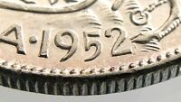 1952 WD Wide Date Canada 50 Cents Half Dollar Uncirculated Silver Coin R633