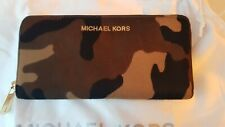 Michael Kors Camo Print  Horse Hair Accordion Zip Wallet Purse BNWT