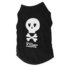 Black Skull Pattern Sleeveless Pet Dog Tank Top Tee Shirt Clothes XS