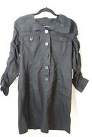 Michael Kors Women's  Button Front Black  3/4 Tab Sleeve Shirt Dress Sz XL  2.19