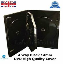 200 x 4 Way Black 14mm DVD Spine Holds 4 Discs New High Quality Replacement Case